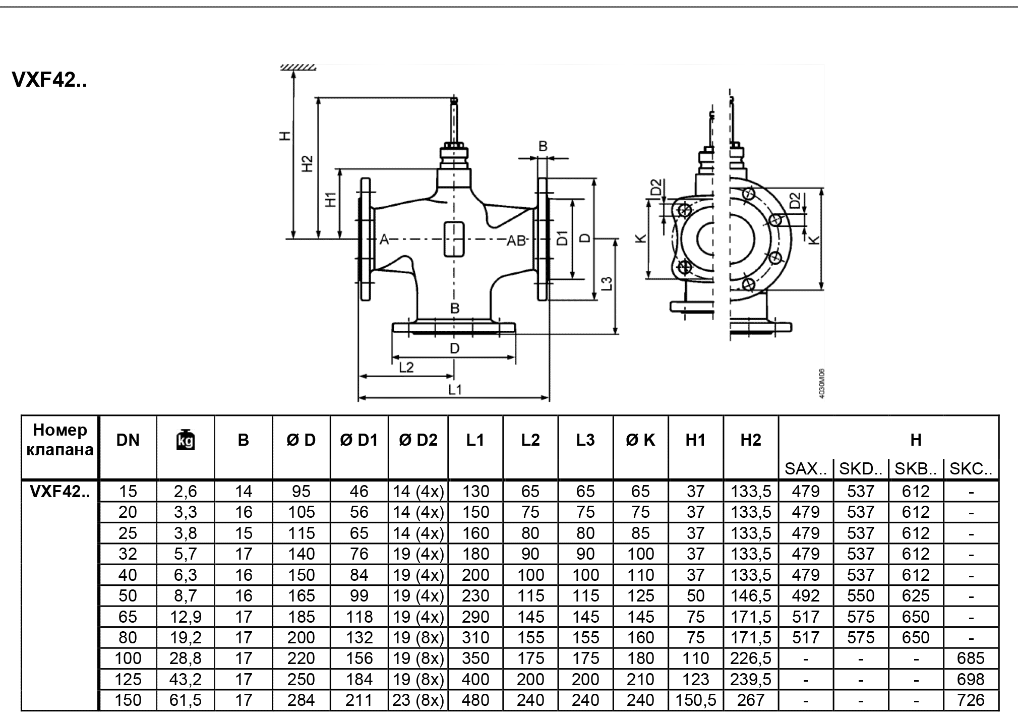 Siemens VXF42 размеры